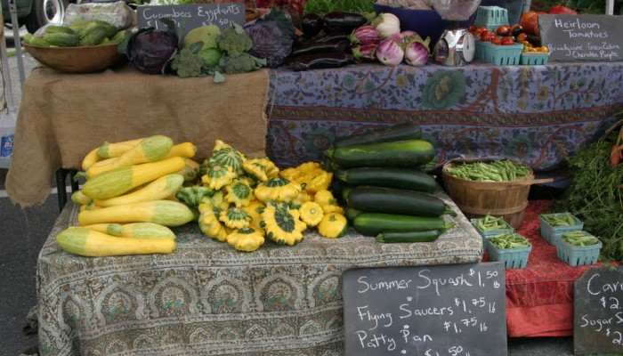 At the market this week - greens, squash, zucchini, brocoli, cabbage.